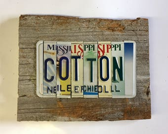 COTTON is King recycled up cycled license plate art sign tomboyART Made in America Oxford William Faulkner Rebel BALL