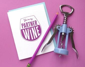partner in wine letterpress card