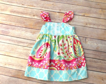 Boutique Girls Easter Spring flutter dress, sizes 6mos-8, toddler and infant  dress, girls ruffle dress
