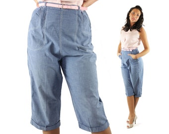 Vintage 50s Capri Pants Clam Diggers Pedal Pushers Long Shorts Blue Chambray High Waisted 1950s Large L Pinup Rockabilly