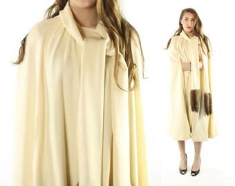 Vintage 70s Iovry Wool Mink Fur Scarf Long Cloak Poncho Winter Coat 1970s Large L C'est Simone