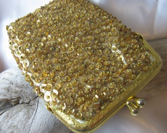 Vintage Gold Sequined Cigarette Case, Kiss Lock Top, Hand Made in Hong Kong, Coin Purse, Card Holder