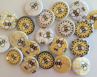 Bee Themed Set Of 20 1 Or 125 Inch Bumble Buttons Pin Flat Back