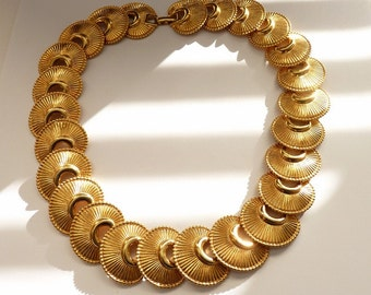 Vintage Monet Gold Necklace 17 Inch Collar Necklace High Shine Textured Gold c. 1980s