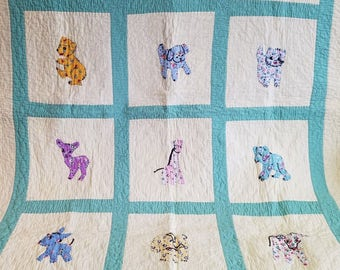 Vintage Handmade Yellow and Mint Animal Applique Baby Quilt