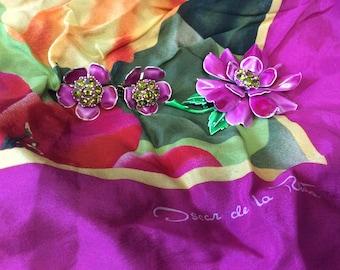 Designer Oscar de la Renta silk scarf, Fashion, Neck Scarf, Tropical Flowers, Pink, greens, yellows and orange, Large Square Scarf, Wrap