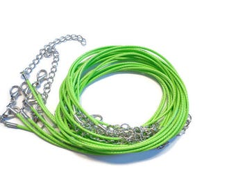 5  - 1.5mm Wax Nylon Cord Necklace with Lobster clasp in Lime Green