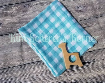 "Blue Mist Gingham Receiving/Swaddle Blanket - 41"" x 36"""