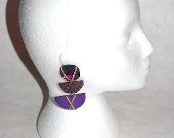Rad 80's Hand Made Purple Suede, Croc, Gold Cord, & Jewel Earrings