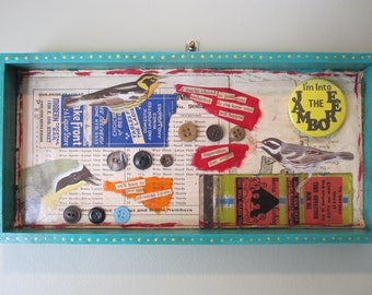 Sassy bird art, mixed media assemblage, collage, 3D art