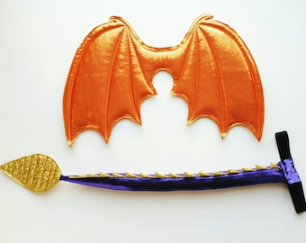 Orange Dragon Wings and Purple and Gold Tail set, Spyro dragon costume, Halloween costume, costume wings, cosplay dragon