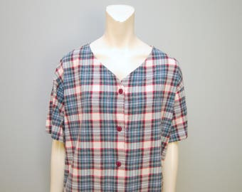 """Vintage 1990's Baseball Jersey Style Button Down T-Shirt V-Neck Plaid Pajama Tee Shirt Top """"Latte Sport"""" Size Medium White Green Blue Red"""