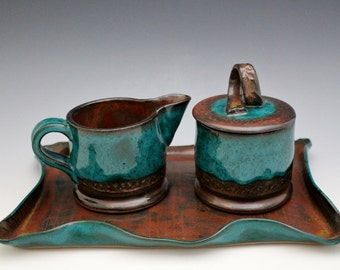 Serving Tray Cream and Sugar Stoneware Set in Rust Red Orange and Turquoise by Earth To Art Ceramics Black Friday Cyber Monday Sale