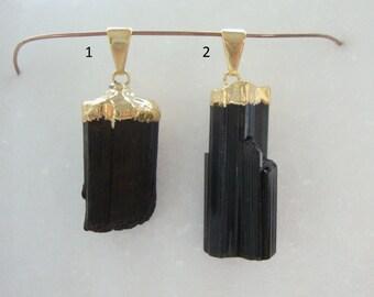 1 pc, Black Tourmaline Gold Pendant, Natural Raw Black Tourmaline