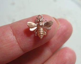 1 pc, 12x13 mm, Honey Bee Charm, lovely, timeless and so cute, Rose Gold over Sterling Silver 3D Honey bee Charm, PC-0002A