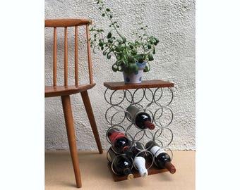 Teak & Chrome 12 Bottle Wine Rack