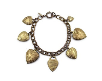 Catherine Popesco Heart Charm Bracelet - Made in France, Charm Bracelet, Heart Charms, Vintage Bracelet, Vintage Jewelry
