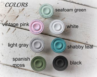 Brass knobs, shabby chic vintage, distressed teal pink white black seafoam green