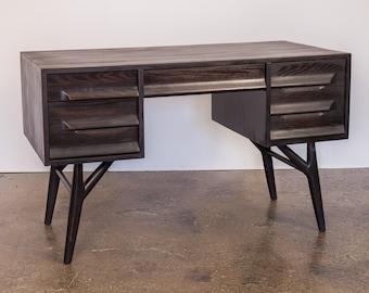 1950s Ebonized Black Oak Five Drawer Desk for Vanleigh