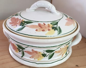 VINTAGE - Covered Stoneware Crock - Casserole Dish - Ceramic Urn with Floral Design - Handmade OOAK