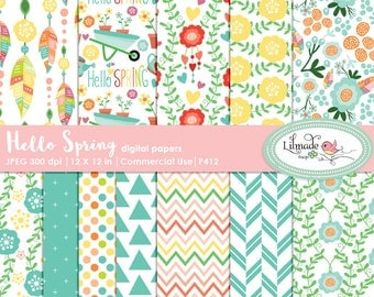 Spring digital paper, Spring scrapbook paper, digital paper, patterned digital papers, Spring patterns, DIY Spring party, P412