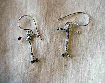 Rustic Silver cross earrings. lightweight silver cross dangles
