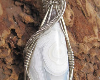 Protection and Balance///Crazy Lace Agate and Sterling Silver Wire Wrap Pendant, One of a Kind, Handmade, Art