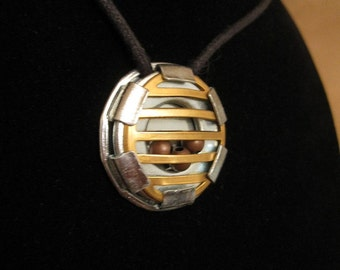 urban artifact necklace - tiny cage with copper beads