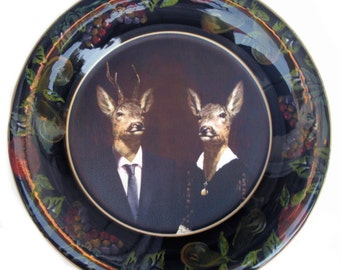 SALE - Uncle Buck and Aunt Doe Portrait Plate 12""