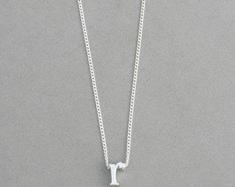 Rhodium Initial r Necklace