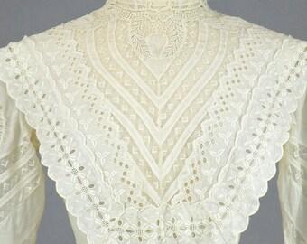 Edwardian Eyelet Dress, Embroidered White Cotton Eyelet Lace Tea Dress, Antique 1900s 1910s Day Dress, XS