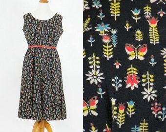50s Dress, 1950s Butterfly Print Dress, Plus Size Dress, 1950s Cotton Dress, Day Dress, Novelty Print Dress, L - XL