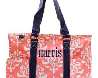 Personalized coral floral damask pocket utility tote