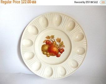 Vintage Ceramic Fruit Transferware Deviled Egg Serving Platter Tray by Treasure Craft