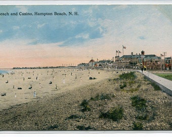 Beach Scene Casino Hampton Beach New Hampshire 1910c postcard