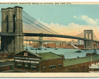 Brooklyn Bridge New York City NYC NY 1920c  postcard