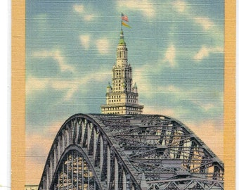 High Level Bridge Terminal Tower Cleveland Ohio linen postcard