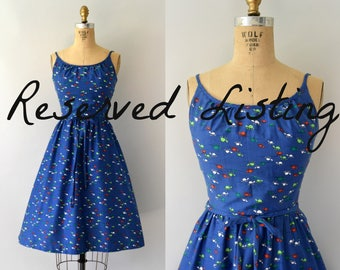 RESERVED LISTING -- Vintage 1970s Dress - 70s Malia Novelty Turtle Print Sundress
