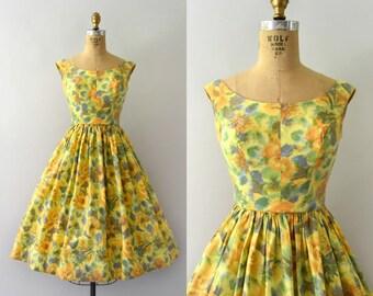 Vintage 1950s Sundress - 50s Yellow Floral Cotton Sun Dress