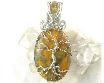 Tree of Life Pendant, Sterling Silver Jewelry, Wire Wrapped Bumble Bee Jasper and Golden Labradorite Facet - Bees Trees
