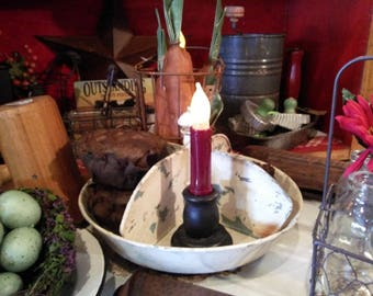 Two LED Flicker Timer Taper Battery Candles  Rustic Primitive Burgundy Gatherings Shelf Sitter