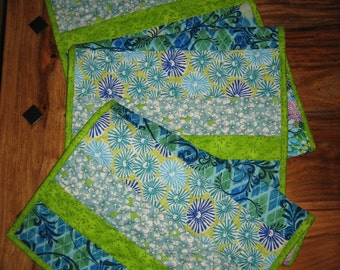 """Abstract Aqua Blue Green Flowers Spring Summer Contemporary Table Runner, 100% Cotton Fabrics, Reversible, 14 x 61"""""""