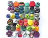 Kazuri Beads, 50 Kazuri Beads, Rainbow Coloured Ceramic Beads, Kazuri African Beads No. 70