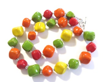 Ceramic Jewelry, Kazuri Bead Necklace in Autumn Colours