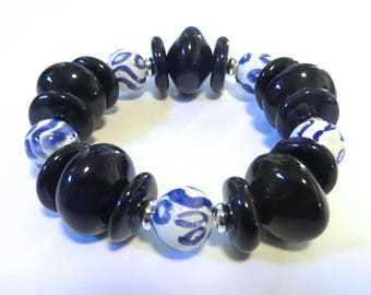Kazuri Bangle, Navy Blue and White Ceramic Bracelet