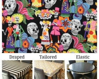 Laminated cotton aka oilcloth tablecloth custom size and fit choose elastic, tailored, or draped Alexander Henry Day of the Dead black