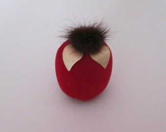 Vintage Red Velveteen Apple Pincushion with Mink Top