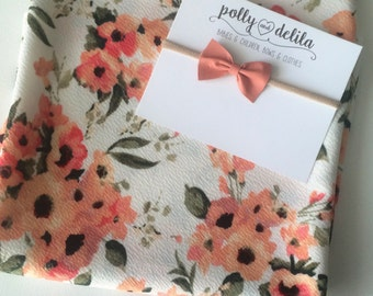 Baby girl swaddle blanket and bow headband set. White coral floral with matching coral leather  bow