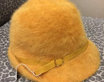 Mustard Kangol Hat Rabbit Fur Vintage Furgora Yellow