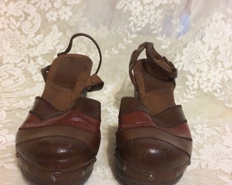 Two Tone Brown Leather Platform  Clog Never Worn